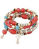 Young & Forever Women's Summer Sunshine Carrot Beads Magic Bracelet Red, Blue, Gold Toned