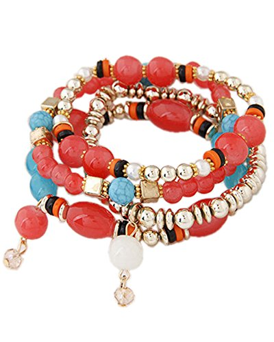 Young & Forever Women's Summer Sunshine Carrot Beads Magic Bracelet Red, Blue, Gold Toned by Young & Forever
