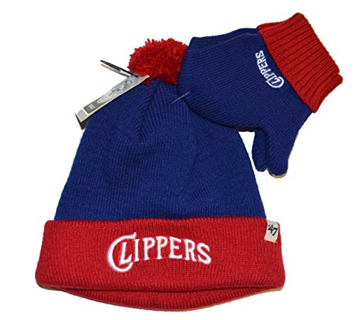 '47 Los Angeles Clippers Infant/Toddler Bam Bam Beanie Hat POM and Glove Gift Combo - NBA Baby Knit Cap/Mittens ()