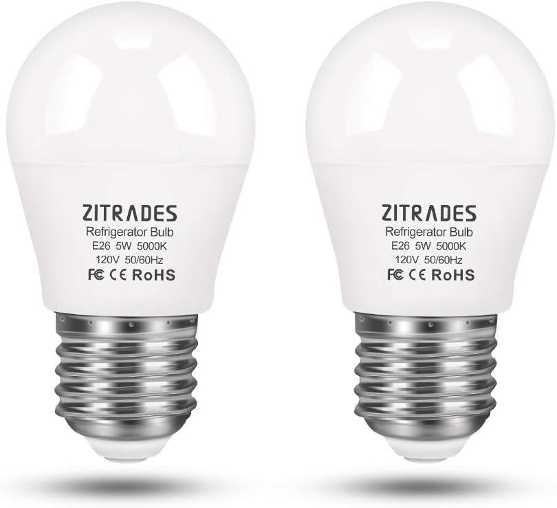 LED Refrigerator Light Bulb 5W 120V E26 Base IP55 Waterproof Fridge Bulbs Daylight White 5000K Home Lighting Decorative Ceiling Fan Light Bulbs Non-Dimmable (2 Pack)