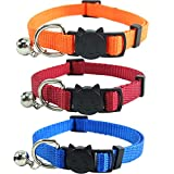 3PCS Cat Collar Breakaway with Bell, Soft Nylon, Red Orange and Blue, for Kitten Kitty Small Dogs Adjustable 7.8-12in (Red+Orange+Blue)
