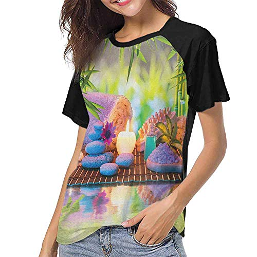 - Spa,Summer Women's Short Sleeve T-Shirt S-XXL(This is for Size Small) Stones with Candles Spiritual Eastern Yoga Relaxation Meditation Chakra Bamboos ,Raglan Baseball Tee