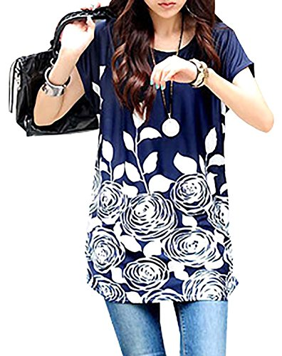 EachWell Women Short Sleeve Oversize Floral Printed Dress Top Blouses Long Shirt(Blue&White) (Cheap Fancy Dress Outfits)