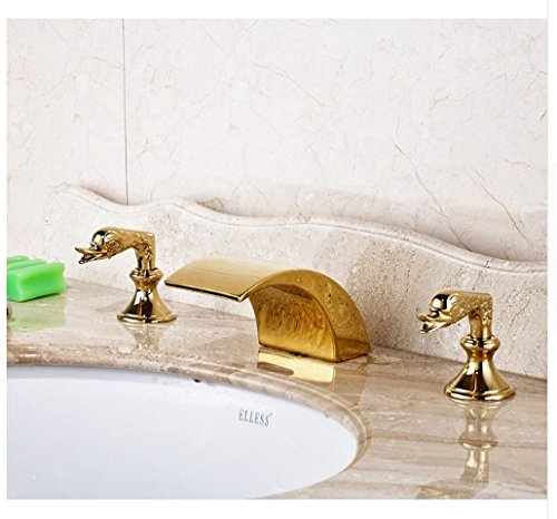Gowe Gold Finished Deck Mounted Bathroom Sink Faucet Double Handles Three Holes Mixer Tap 0