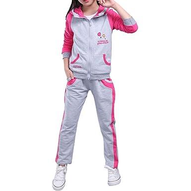 MAOMAO-Niño- Niña suéter Manga Larga + Pantalón, 3-15 años, Rosa ...