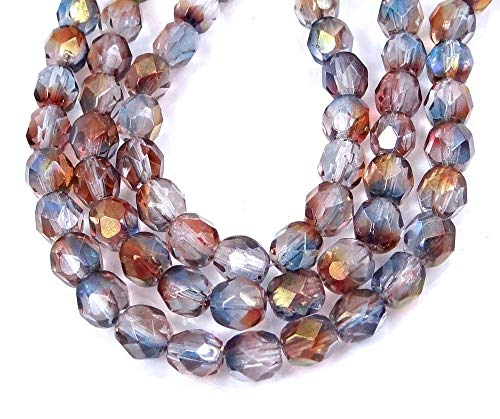 25 Firepolish Czech Glass Faceted Round Beads - Amethyst Blue Crystal - Round Beads Firepolish Amethyst
