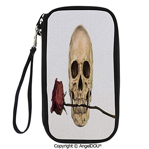 PUTIEN Printed Travel Passport Holder Purse Skull with Dry Red Rose in Teeth Anatomy Death Eye Socket Jawbone Halloween Art Decorative with Double Zipper -