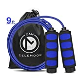 CELEMOON Lightweight Adjustable Cable Kids Jump Rope with Anti-Slip Foam Grip Handles and Storage Bag, 9 Feet (Blue) For Sale
