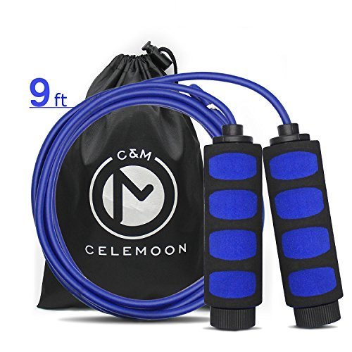 CELEMOON Lightweight Adjustable Cable Kids Jump Rope with Anti-Slip Foam Grip Handles and Storage Bag, 9 Feet (Blue) (Rope Grip)