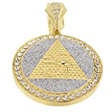 Pyramid Eye of Horus RA Medallion Pendant Glittering Gold Tone 48 mm Round Medal Hip Hop Charm