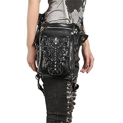 96dce0adac9 steel master Punk PU Leather Waist Bags Gothic Rivet Black Fanny Packs  Steampunk Handbags for Men Women