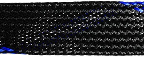 Negro Gaoominy Manguito Trenzado Para Mascotas 32.8 Pies 10M Cable Expandible Envoltura 14 Mm Di/ámetro Cable Funda Azul