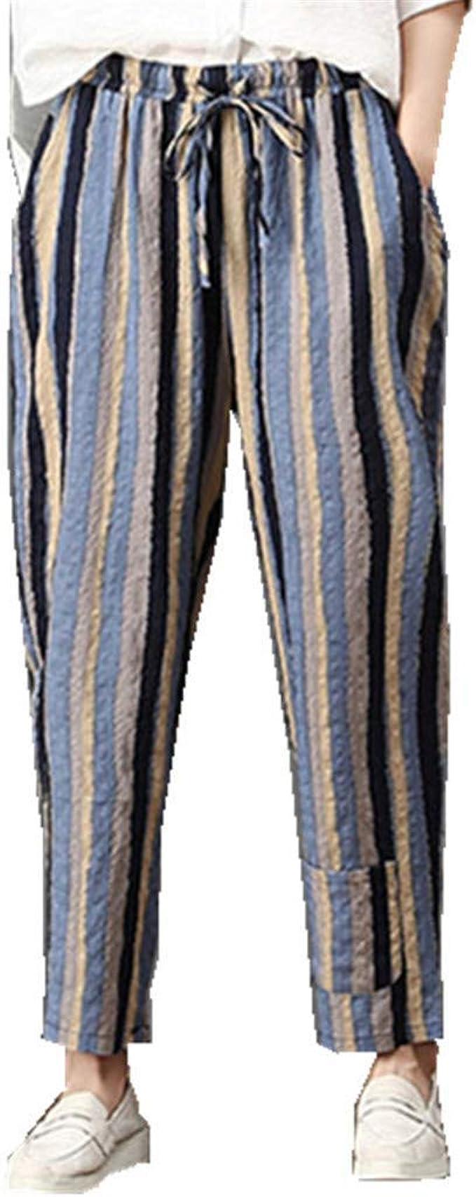 Pantalones Delgados De Rayas De Cintura Alta para Mujer Summer Straight 3 4 Festivo Pantalones para Correr Leggings De Yoga Pantalones De Yoga Pantalones De Lino Y Algodón Pantalones Vaqueros Largos: Amazon.es: