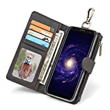 Galaxy S8 Case, Galaxy S8 Plus Case, Wensltd [Card Slots] [Wallet Stand] Protective Shock Resistant Flip Cover Leather Wallet Case for Samsung Galaxy S8/S8 Plus (S8(5.8Inch), Dark Gray)