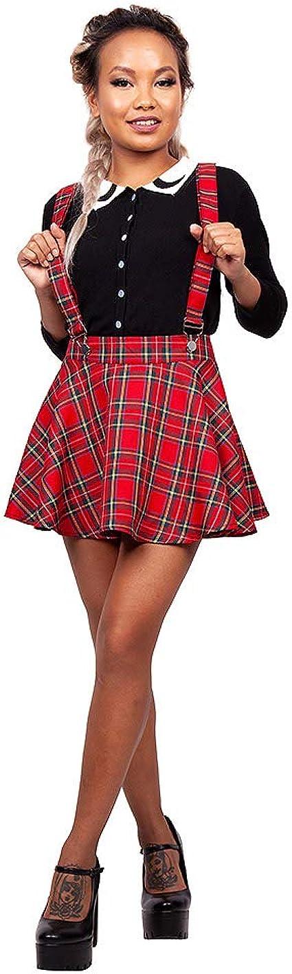 Jawbreaker Mini Falda a Cuadros Escoceses con Tirantes - Rojo XL ...