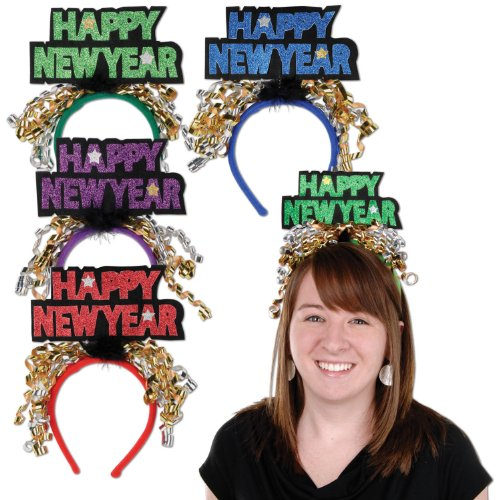 [Beistle 80733 Glittered Happy New Year Headbands, 1 Per Package] (Happy New Year Boppers)