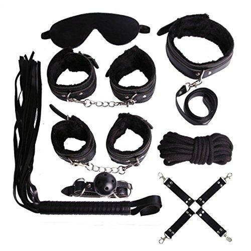 [New 9 Pcs Adult Love PU Leather Sexy Women Costume Kits (Black)] (Mens Bedroom Costumes)