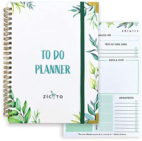 Simplified Greenery To Do List Notebook – Beautiful Daily Planner Easily Organizes Your Daily Tasks And Boosts Productivity – The Perfect Journal And Undated Office Supplies Notepad For Women