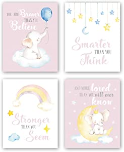 """XUN Watercolor Elephant Quote Art Print- Rainbow Stars Inspirational Quote Canvas Wall Art-(8""""X10""""X4 Pieces, Unframed)-Perfect for Nursery Bedroom Decoration"""