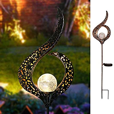 Homeimpro Garden Solar Lights Outdoor, Moon Crackle Glass Globe Stake Lights,Waterproof LED Lights for Garden,Lawn,Patio or Courtyard