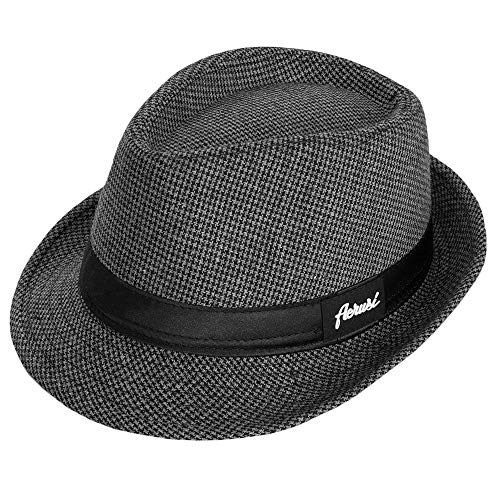 Trendy Houndstooth Plaid Trilby Fedora Hat Cotton Short Brim Cap (Black)
