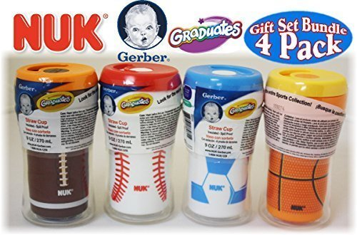 NUK Gerber Graduates 9oz Insulated Straw Sports Cups Football, Baseball, Soccer & Basketball Gift Set Bundle - 4 Pack