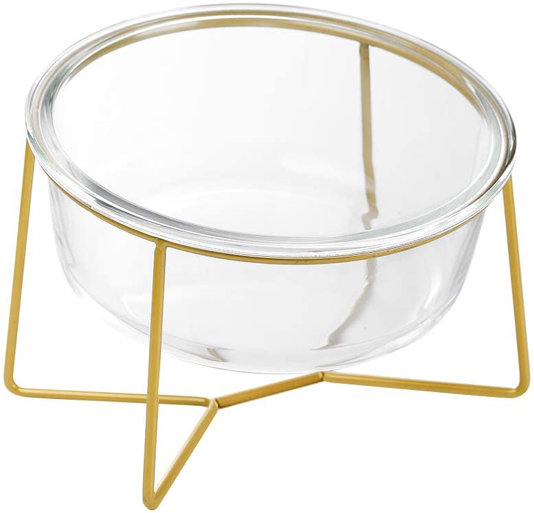LIONWEI LIONWELI Large Glass Tilted Elevated Cat Dog Bowl Raised Cat Food Water Bowl Dish Pet Comfort Feeding Bowls with Gold Iron Stand