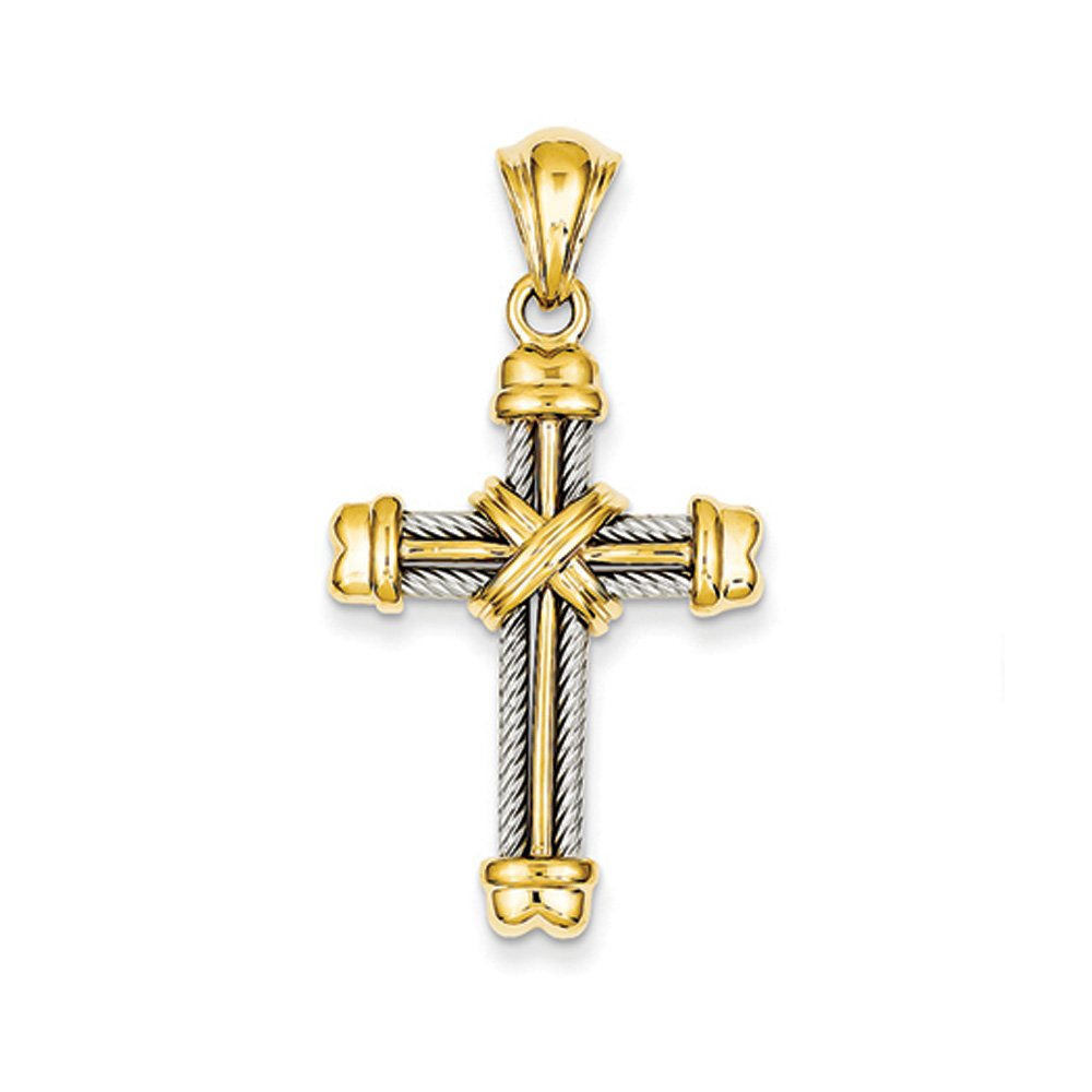 14k Two Tone Gold Rope Cross Pendant