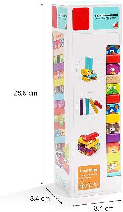 Alapet Animal Jenga El rompecabezas de los niños Aprendizaje temprano Bloques de construcción de juguetes de 3 años de edad y por encima de los niños Juguetes interactivos Pensamiento lógico Entrenami: Amazon.es: