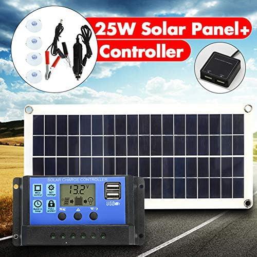 Zhang 25W Solar Panel 18V Dual USB Solar-Panel-Zellen mit 10A Regler-Steuerpult Ect für Auto-Yacht RV Lichter Ladegerät