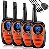 Walkie Talkies Rechargeable 4 Pack,Mksutary walkie talkies for Kids,2 Way Radios Kids Toys,Long Range 2 Miles,22 Channels Transceiver with DC Charger for Children Adults Biking Hiking Orange