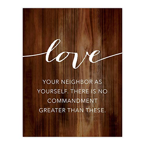 Andaz Press Christian Bible Verses 8.5x11-inch Wood Poster, Love Your Neighbor as Yourself. Mark 12:30-31, 1-Pack, Religious Christmas Birthday Gift for Him Her (Love Your Neighbor As Yourself Bible Verse)