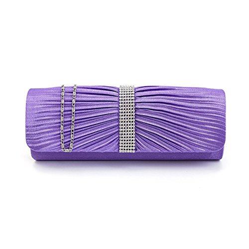 Sac soirée Diamante Party de mariage d'embrayage de Designer dames sac à main Violet Femmes à main Satin zqOxTwT
