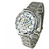 YouYouPifa Skeleton Dial Stainless Steel Strap Hand-Wind Mechanical Men's Watch (White & Blue) by YouYouPifa