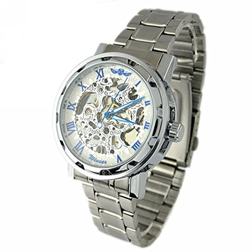 Silver Mechanical Dial (YouYouPifa Men's Alloy Strap Wind Round Mechanical Watches (Silver Strap / White Dial))