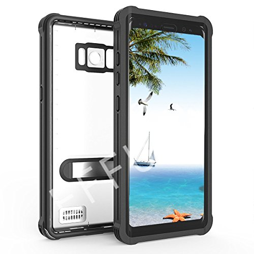 Samsung Galaxy S8/S8 Plus Waterproof Case, Effun IP68 Certified Waterproof Cover Dust/Snow/Shock Proof Case with Kick Stand, PH Test Paper and Floating Strap Black/White/Light Blue/Pink/Aqua Blue