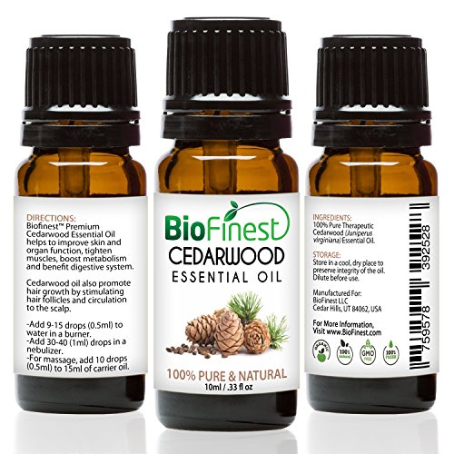 BioFinest Cedarwood Oil - 100% Pure Cedarwood Essential Oil - Promote Hair Growth & Boost Metabolism - Premium Quality - Therapeutic Grade - Best For Aromatherapy - FREE E-Book (10ml)