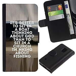 Paccase / Billetera de Cuero Caso del tirón Titular de la tarjeta Carcasa Funda para - fishing seaman god Christian hobby fun - Samsung Galaxy S5 V SM-G900