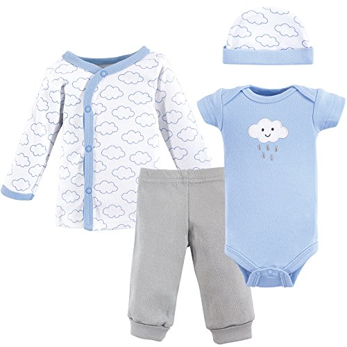 (Luvable Friends Baby Preemie 4 Piece Pant, Bodysuit, Shirt, Cap Set, boy Cloud,)