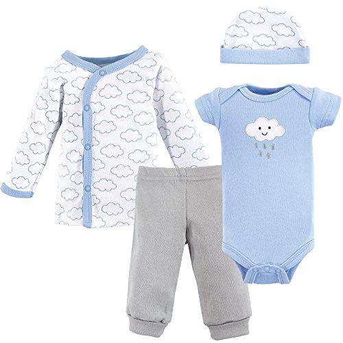 Luvable Friends Baby Preemie 4 Piece Pant, Bodysuit, Shirt, Cap Set, boy - Baby Doll Clothes Boy