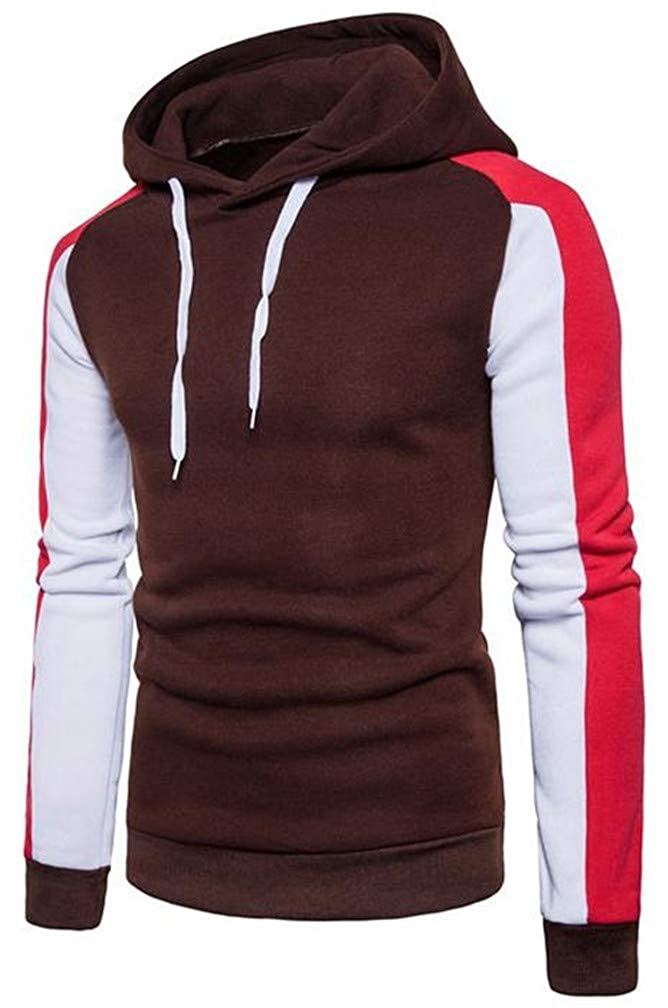 Hajotrawa Men Classic Contrast Color Drawstring Raglan Sleeve Pullover Hooded Sweatshirts
