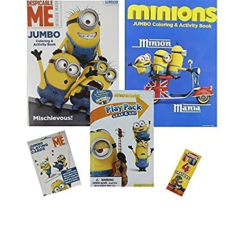 Minions Coloring Set 5 Pc 2 Books Play Pack Jumbo Playing Cards