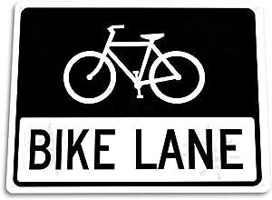 ddfg Metal Tin Sign Bike Lane Tin Cycling Bicycle Route Road Bike Wall Decor Metal Sign 12x8 Inches