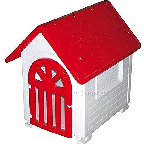 Suinga - Caseta de Plástico para Perros Rojo Dog-House con Puerta. Medidas (Frente, Fondo, Alto) 57x73x71 cm. Fabricado en España.: Amazon.es: Jardín