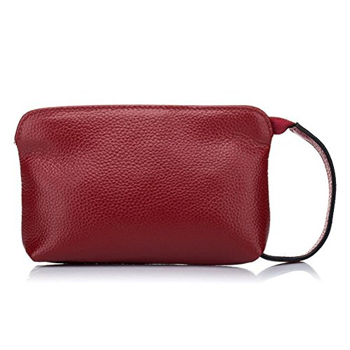 Genuine Wine Zip Ladies DcSpring Organizer Credit Leather Purse Capacity Bag with Card Wallet Wrist Red Clutch Large Strap CHSxwtUq