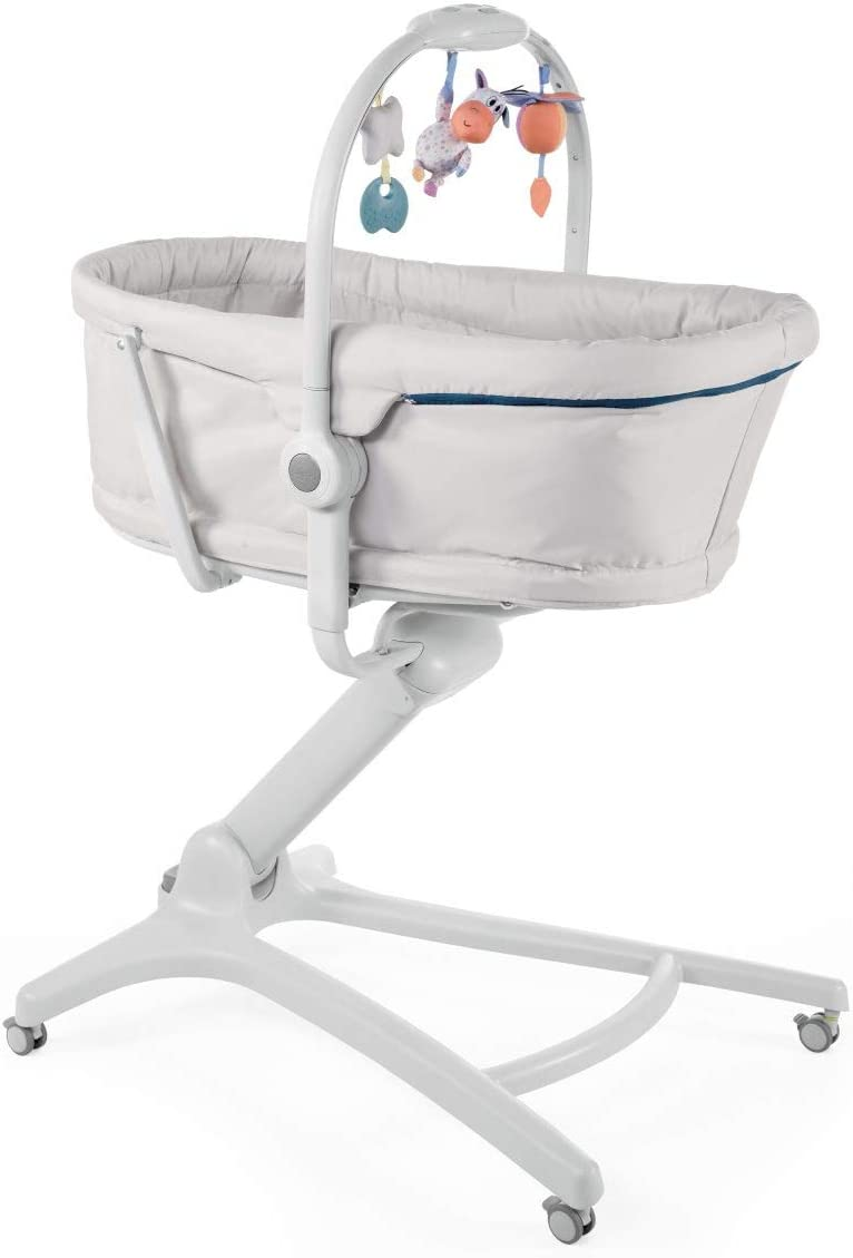 Chicco Baby Hug 4en1 Sistema Multifunción: Moisés, Hamaca, Trona y Silla, Regulable en Altura, Color Gris (Glacial)