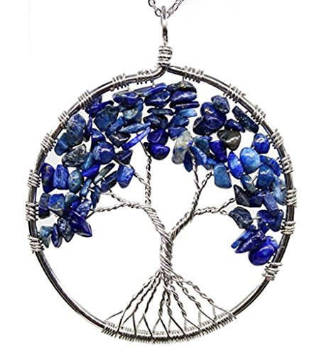 Top Quality Tree of Life Chakra Pendant Necklace Natural Lapis Lazuli Gemstone Chakra Jewelry 26