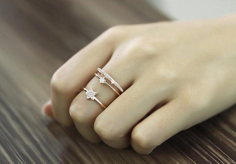 Wansan Women Ring Star Adjustable Open Rings for Wedding Anniversary Valentines Day Birthday Gift