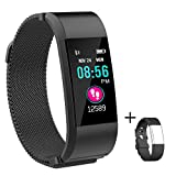 Fitness Tracker, Waterproof Activity Tracker with Heart Rate Monitor and Sleep Monitor,Waterproof Pedometer, Step Counter, Calories Counter for Android & iPhone (Metal Black)