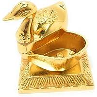 Jaipuri haat Golden Metal Handcrafted Single Duck with Chandan Roli Chopda Pair for Gift and Pooja Purpose